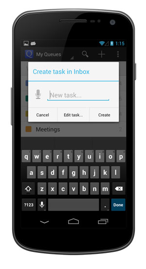 Create a new task from the Android app.