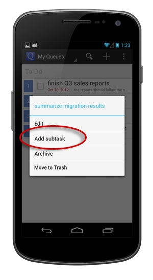 Add a subtask to an existing task.