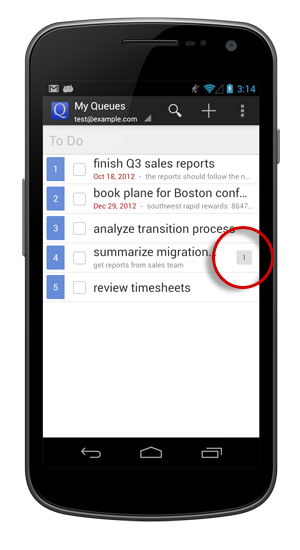 Your task denotes how many subtasks there are associated with it.