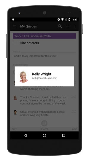 Tap an image to view a team member's details.