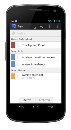 View tasks with the selected tag.