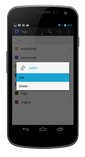 Edit a tag by long tapping the tag and selecting Edit.