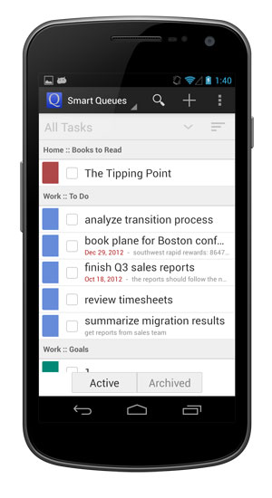 You can choose how tasks are grouped and sorted.