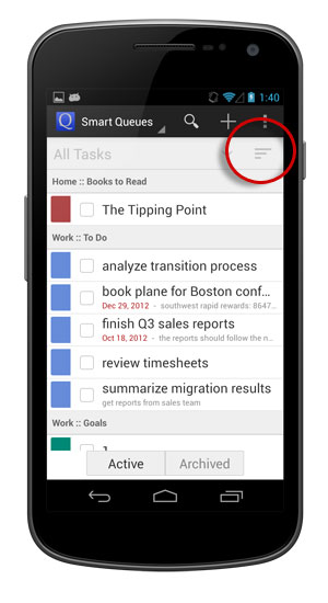Choose how you want your tasks to be grouped and sorted.