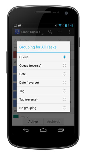 Choose how you'd like your tasks to be grouped.
