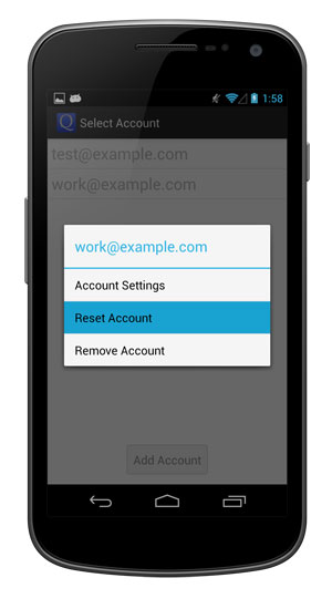 Reset your account from the popup menu.