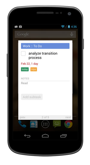View tasks from the widget.
