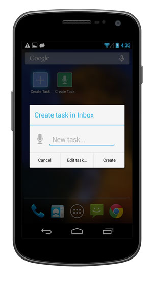 Tap the shortcut to create a task.